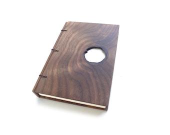 4x6 Walnut Wooden Notebook Wood Journal Sketchbook Rustic Wood Wedding Guest Book Personalized Journal Refillable Journal Custom Journal