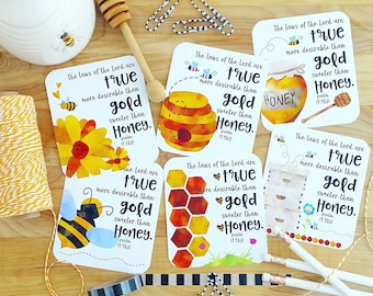 Sweeter than honey Psalm 19.9&10 honey bees honeycomb inspired scripture set of 6 journaling / bible journaling cards