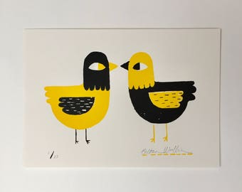 Hand-printed Two Colour Bird Screenprint