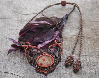 Handmade Natural Gem Macrame Necklace with Sunstone / METAL FREE