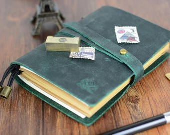 Personalized Travelers notebook Cover leather Travelers notebook,Refillable Leather Traveler's Notebook-130mm*100mm
