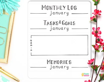 Monthly Log • Tasks & Goals • Monthly Memories • Minimalism Planner 2017 • Bullet Journal Stickers • Personal Planner Headers • BuJo Sticker