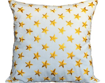 Star Pillow Cover White Embroidered Pillow Yellow White Star Pillow Accent Pillow Couch Pillow Throw Pillow White Pillow Geometric Pillow