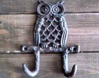 Owl Wall Hook | Double Coat Hook | Cast Iron Hook | Nursery Hook | DIY Supply