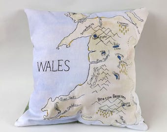 Wales Map Printed and Embroidered Cushion Cover with Green Backing Fabric 40 x 40cm