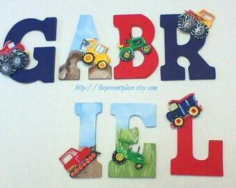 7 wooden letters,construction theme,dump truck,back hoe,tow truck,monster trucks,tractors,boys letters,boys wall art,personalized art,build