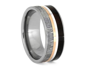 Meteorite Ring With Twin Pinstripes, Redwood Wedding Band, Sterling Silver And Rose Gold Jewelry