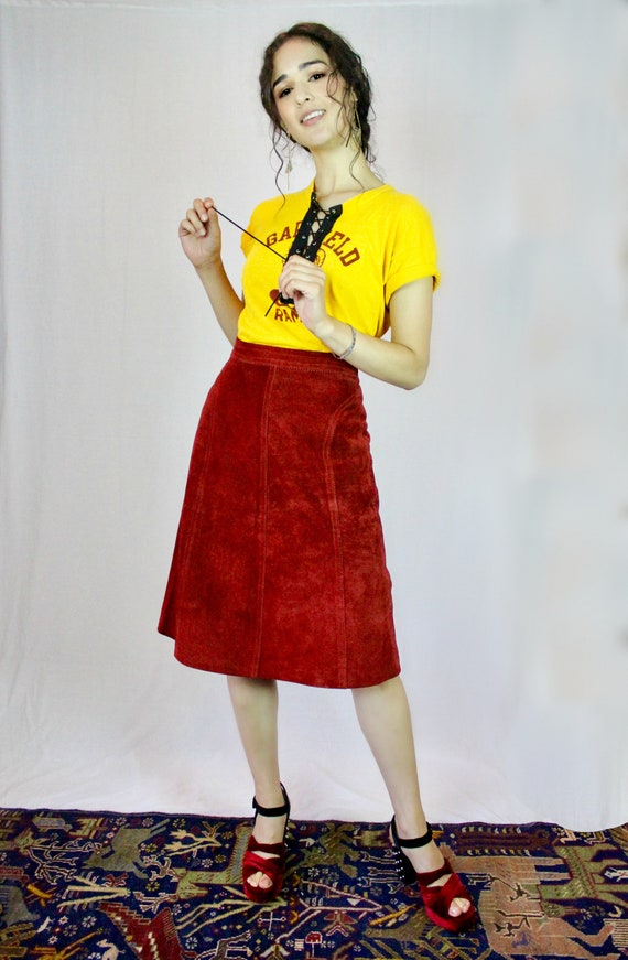 Brick Red Suede Skirt - Authentic Vintage