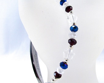 Patriotic Red White Blue Glass Star Beaded Medical ID Bracelet
