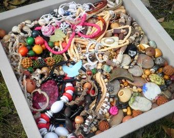 Huge Destash Bead Lot Boho Tribal Nature Earth Tone Jewelry + Craft Beading Supplies, Wood Shell Metal Stone Glass Plastic 4 lb. Bead Mix