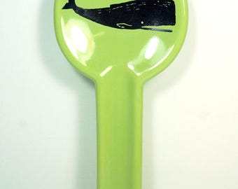 spoon rest with a Whale print on Tinda Green READY to SHIP