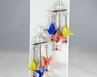 Origami Crane Trio (Blue, Orange, Yellow)