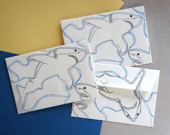 Freehand Illustrated Envelopes - Sharks