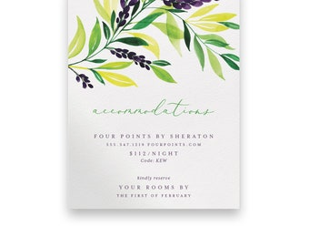 Greenery Enclosure Card/Greenery Wedding Invitation Suite/Wedding Invite/Invitation Suites/Foliage/Floral/Greenery Invitation/Purple/Yellow
