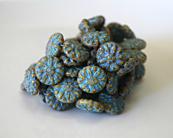 Turquoise Washed Dahlia Flower Glass Beads Dahlia Beads Aqua Beige Flower Czech Glass Beads Flower Blue Flowers 14mm (4pcs) 83V3
