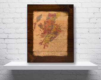 Historic Map of Scotland Wood Wall Art - Clans of Scotland Map Art