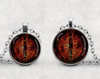 Dragon's Eye Pendant, Orange Dragon Eye Jewelry, Dragon Eyes, Glass Dragon Eye, Glass Eye, Evil Dragon Eye, Rivulet Amulet