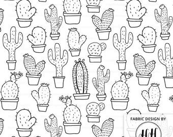 Cactus Fabric in Black and White by the Yard - Cacti Succulents Nursery Print in Yards & Fat Quarter