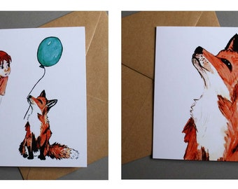 Fox and girl illustrated greetings cards set of four