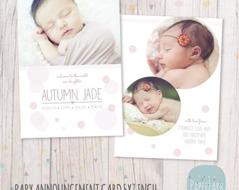 Newborn Birth Announcement - Photoshop Card template - AN004 - INSTANT DOWNLOAD