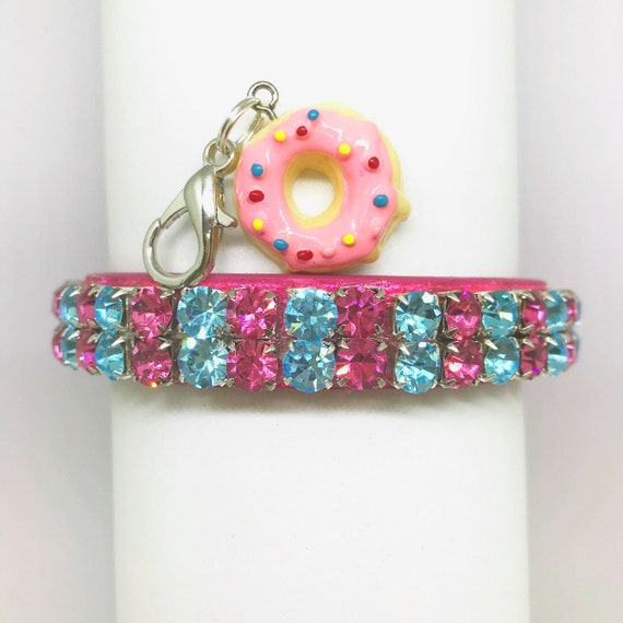 Cutie Pie Pets Collars™ ~ Pink & Aqua Icing Donuts~  Crystal Diamante Rhinestone PU Leather Dog Cat SAFETY Collar USA!
