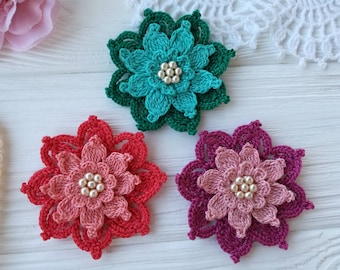Crochet flowers (3pcs)