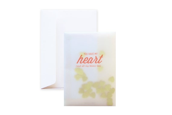 Confetti Greeting Card: You have my heart (including envelope) // feat. gold metalic heart confetti // Valentine card