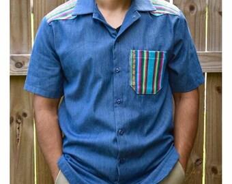 Denim Button Down with Bolivian textiles