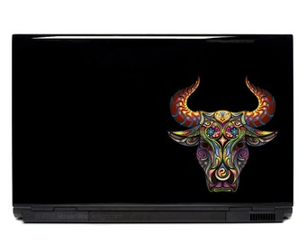 Bull Ornate Vinyl Laptop or Automotive Art FREE SHIPPING decal laptop notebook art sticker ornate detailed colorful taurus steer cowboy