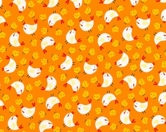 Timeless Treasures Farmland Orange Chickens Fabric - 1 yard
