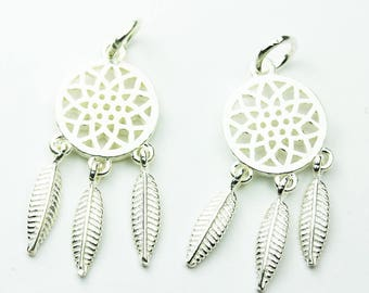 2pcs 925 Sterling Silver Jewellery findings Charm Beads , Dream Catcher charm, 12*26mm, 6mm closed jump ring - FDSSB0474