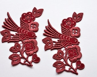 Wine Red, Burgundy Bird Appliques, Large Embroidered Bird Appliques, Set of Two