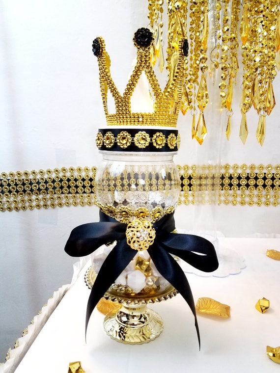 Black And Gold Princeprincess Crown Baby Shower Centerpiece