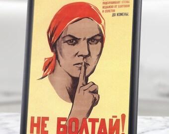 "Printable Wall Art - Russian Propaganda Poster - ""DON'T TALK"" , russian militaria, russian military, soviet propaganda, ussr propaganda, A4"