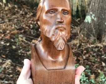 Carved Wood Bust of Jesus Columbia College Iowa
