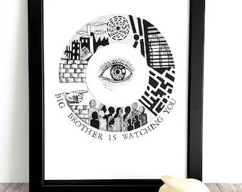 "Illustration / / poster ""letter O"" (1984 - George Orwell)"