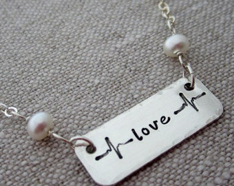 Love Sterling Silver Necklace - Hand Stamped Love Necklace - Hip Mom Jewelry