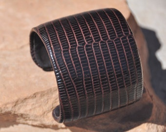 Brown Lizard Leather Cuff
