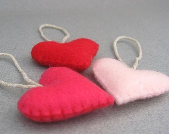 Felt Heart Valentines Ornaments Red and Pink Valentines Colors small Recycled Felt Red, Shocking Pink, Baby Pink