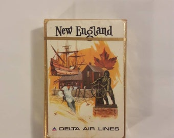 Vintage Sealed Delta Airlines New England Playing Cards