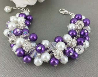 Lavender and White Bracelet Purple and White Pearl Cluster Bracelet Pearl Rhinestones Bracelet Bridesmaid Bracelet