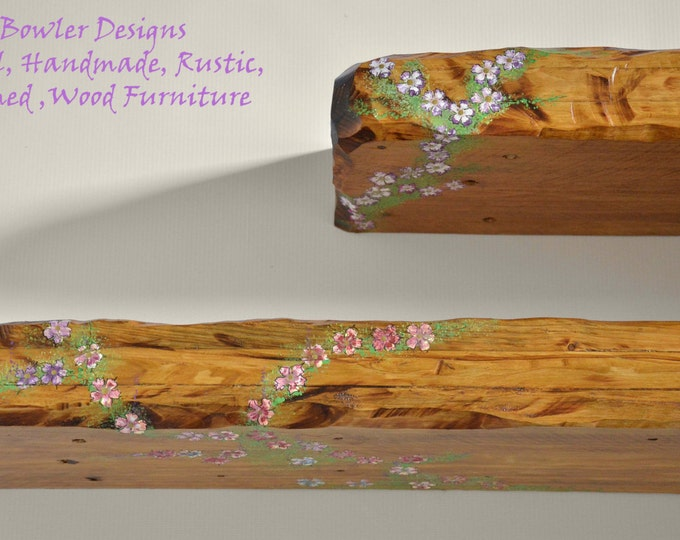 Bespoke Country Cottage Rustic Reclaimed Wood Floating Shelf Light Oak Stain with Cottage Flower Design Fixings Supplied