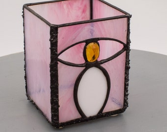 """Birthday Candle Shelter Pink Stained Glass """"OH"""""""