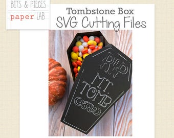 SVG Cutting Files: Tombstone Box, Tombstone SVG, Halloween SVG