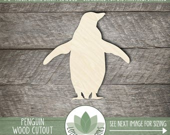 Wood Penguin Shape, Unfinished Wood Penguin Laser Cut Shape, DIY Craft Supply, Many Size Options, Blank Wood Shapes