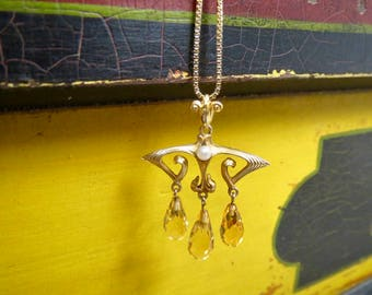 Beautiful Nouveau 14K Pearl and Citrine Chandelier Drop Pendant