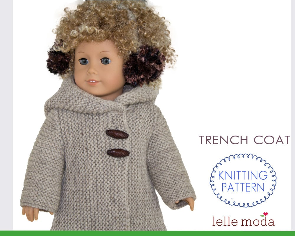 Winter Hooded Coat Knitting Pattern for 18 inch Dolls fits
