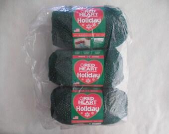 Red Heart Christmas Yarn (3pk) Green/ gold holiday yarn
