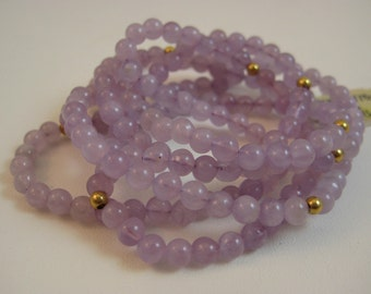 "Lavendar Amethyst Beaded Necklace with 14kt Gold on a Continuous 36"" Strand"