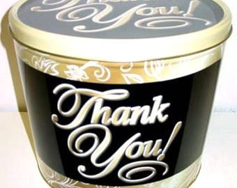 2 Gallon Thank You Gourmet Popcorn Tin Gift Pick Your Flavor